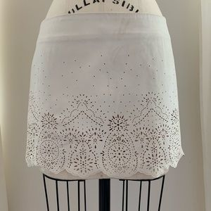 Forever 21 Cream Faux Suede Laser Cut Skirt